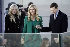 Ivanka, whose role in the White House is expected to be more akin to that of First Lady than her stepmother's, was escorted to her seat by husband Jared Kushner. Her younger half-sister Tiffany (left) was also in attendance