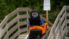 A passenger on the Smoky Mountain Alpine Coaster in Pigeon Forge