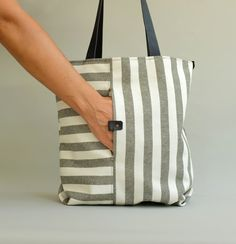 Tote, Striped Tote, Striped Bag, Mikuya *°º0º°**°º0º°**°º0º°**°º0º°**°º0º°**°º0º°**°º0º°**°º0º°**°º0º°* A new design with striped cotton a medium to