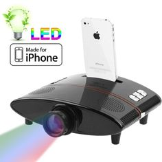 Multimedia LED Projector and Charging Base with Speaker for iPhone 4, Support AV Input (Black)
