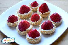 Strawberry-Cheesecake-Bites. Whipped creamcheese, GF graham cracker crumbs. Or even GF cookie crumbs.
