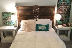 Pallet Headboard Rustic Aged Wood Farmhouse Style by BrittandTyler
