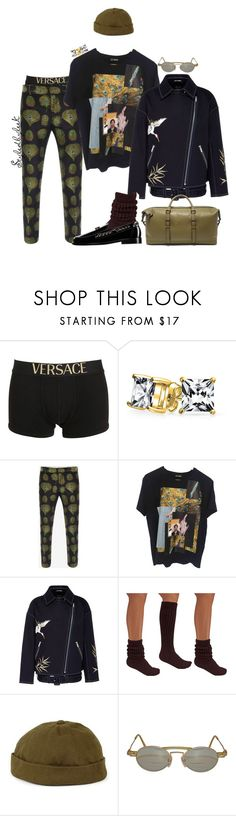 """Styledbyleek"" by stylebywho ❤ liked on Polyvore featuring Versace, Bling Jewelry, Alexander McQueen, Raf Simons, Angel Chen, Chanel, Topman, Kansai Yamamoto, Ted Baker and men's fashion"