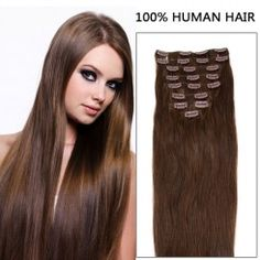 24 Inch 10pcs Ravishing Straight Clip In Remy Human Hair Extensions 175g (#4 Chocolate Brown)