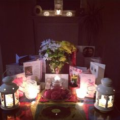 Birthday.. Pretty lights flowers and candles