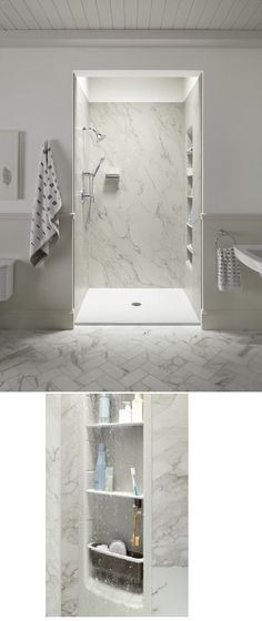 large slabs tiles shower walls - Bing images | Bathrooms | Pinterest ...