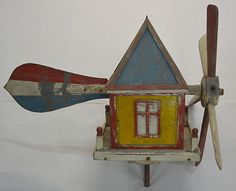 Antique Whirligig House Folk Art Primitive