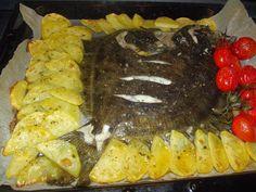 Julia's Kitchen: ROMBO AL FORNO CON PATATE E POMODORINI / CALCAN LA...