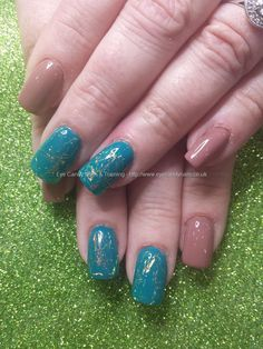 Nude and teal gel polish with lazer lace inlays