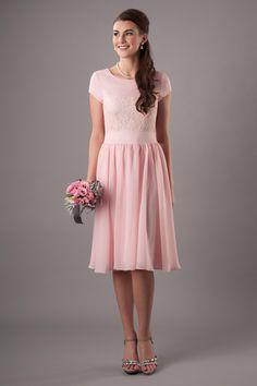 2015 Pink V-neck A-line Knee Length Chiffon Modest Bridesmaid ...