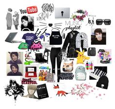 """Dan Howell's existence"" by audreyisadinosaur on Polyvore featuring WithChic, Carven, Ghibli, York Wallcoverings, Aquazzura, Master & Dynamic, Nintendo, O-Mighty, Nisan and House by John Lewis"