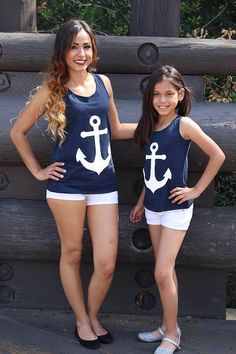 Mother and daughter dress anchor summer dress sleeveless girls T-shirt anchor bow sleeveless vest family matching outfits dress Mom And Son Outfits, Mother Daughter Outfits, Boys Summer Outfits, Mom Daughter, Matching Family Outfits, Boy Outfits, Fashion Outfits, Summer Clothes, Outfit Summer