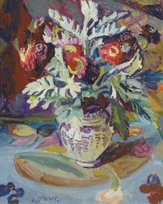 Artwork by Duncan Grant, Still life on a painted table, Made of oil on canvas laid on board