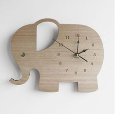 Elephant laser cut Wooden clock - Home Decoration - Mastercrafter - DIY Christmas Ideas ♥ Homes Decoration Ideas Deco Elephant, Elephant Stuff, Elephant Nursery Decor, Wooden Elephant, Elephant Room Ideas, Elephant Nursery Girl, Nursery Ideas, Letter Wall Decor, Wooden Clock