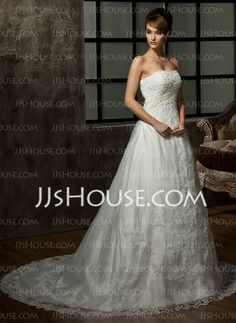 Wedding Dresses - $212.99 - A-Line/Princess Strapless Chapel Train Organza  Satin Wedding Dresses With Lace  Beadwork (002000298) http://jjshouse.com/A-line-Princess-Strapless-Chapel-Train-Organza--Satin-Wedding-Dresses-With-Lace--Beadwork-002000298-g298
