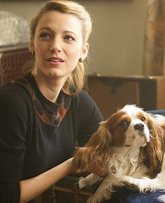 """Blake Lively with her Cavalier King Charles Spaniel co-star in her movie """"The Age of Adaline"""" Blake Lively, King Charles Spaniel, Cavalier King Charles, Movies Showing, Movies And Tv Shows, Für Immer Adaline, Adaline Bowman, Age Of Adaline, Meaningful Pictures"""