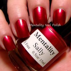 Mentality Nail Polish - Sally is a red gloss polish with a red orange color shift. From the One-Offs Collection.