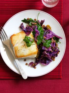 Quick Braised Red Cabbage and Lentils with Seared Cod - GoodHousekeeping.com