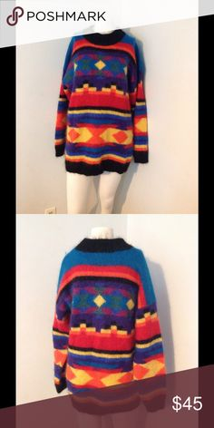 """Vintage Fuzzy Mohair Southwestern Indian Sweater Fab vintage sweater! Colorful Aztek style - made of 50% mohair 50% acrylic. Marked size Large but with fit multiple sizes depending on how you want to wear it. My mannequin is a size small. Great condition. Chest 44"""" Length 29"""" Vintage Sweaters"""