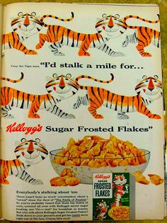 vintage cereal ads | 1954 Frosted Flakes Vintage Cereal Illustration Advertisement 1950s Ad ...