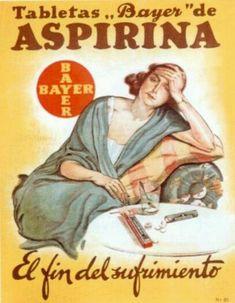 Carteles antiguos de publicidad- Aspirina, el fin del subrimiento