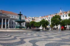 Praça do Rossio, The main square at the top of Rua Augusta in Baixa, Portugal