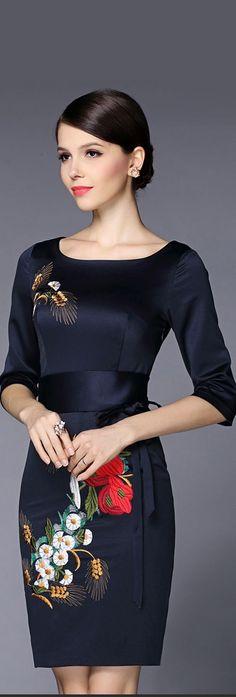Black Embroidery Half Sleeves Dress