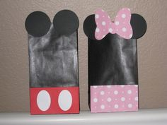 Disney Mickey Mouse Minnie Mouse Personalized Favor Treat Thank You Bags Set of 12. $15.00, via Etsy.