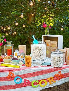 Re-create the excitement of the snack bar with a homemade popcorn stand. Pop up a big batch of plain kernels, lay out mix-ins like candy and pretzels, and let the kids season it with custom spice combinations.