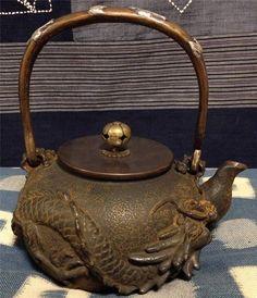 ANTIQUE JAPANESE TEA CEREMONY CAST IRON TEA POT TETSUBIN CHAGAMA 140202