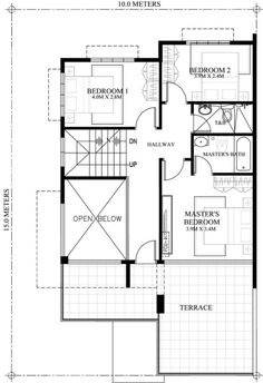 Prosperito is a single attached two story house design with roof deck. This floor plan is the modified version of and This is designed for narrow lot with 10 m frontage width making one side firewall ensuring at least 2 meter setback on the opposite side. Two Story House Design, 2 Storey House Design, 4 Bedroom House Plans, House Floor Plans, Double Storey House Plans, Small Modern House Plans, Modern Houses, Small Houses, Plans Architecture