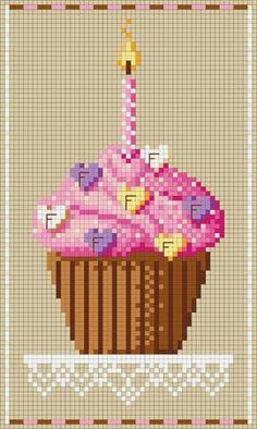 Kanaviçe / Cupcake Desenli Şablonlar