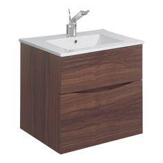 Bauhaus Glide II 50 Wall Mounted 2 Drawer Vanity Unit & Ceramic Basin - American Walnut - BEST PRICE SO FAR