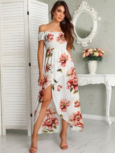 Floral Print Shirring Off Shoulder Slit Maxi Dress buying fashion dresses & rapid delivery. Start your amazing deals with big discounts! Girls Maxi Dresses, Women's Fashion Dresses, Cute Dresses, Short Dresses, Summer Dresses, Awesome Dresses, Event Dresses, Outfit Summer, Summer Clothes
