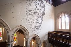 3D Face Installation Made With Metal Stars3