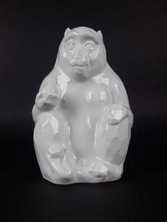 Antique Signed Kutani Porcelain Monkey Statue Rare and Unusual 9 inches #Kutani