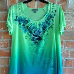 """Lovely Spring/ Summer Top This top is so pretty and lightweight. Very flattering. Like new condition. The crochet on the shoulders add to it's  beauty. Measures 25"""" underarm to underarm and is 27"""" long Essentials Tops Blouses"""