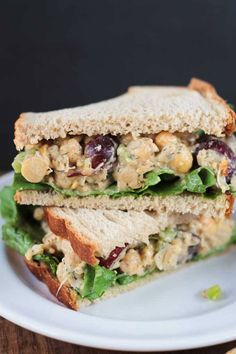 """Chickpea """"Chicken"""" Salad -- also good with seiten, tofu, or Gardein Chick'n in place of the chick peas. I like to add toasted pecans, slivered almonds, or hulled sunflower seeds."""