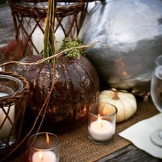Bring warmth to your table setting with votives and something from the harvest. #sharethebounty #pumpkinspice #comeseeus #mossmountain #tablescape #falldecor #ilovefall