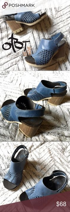 "🚨BUNDLE SALE🚨 OTBT Blue Jet Set Platform Sandal OTBT (off the Beaten Track) Blue Jet Set Platform Sandal, 6M. Like New! A bold, ultra-chunky heel in a wood-like finish grounds an essential casual sandal topped with a smooth and cutout-leather upper and finished with an adjustable hook-and-loop slingback strap. 3 1/2"" heel; 1"" platform. Adjustable hook-and-loop strap. Leather upper/synthetic lining/EVA sole. By OTBT; imported.  ***see final photo for slight mark on right inside upper…"