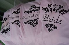 Bridal party shirts - make these for the girls to wear morning of wedding.