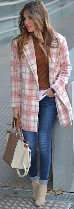 Pink Multi Plaid Coat by Mi Aventura Con La Moda