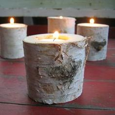 Cabin Accessories - Love this candle holder made from Birch Logs,