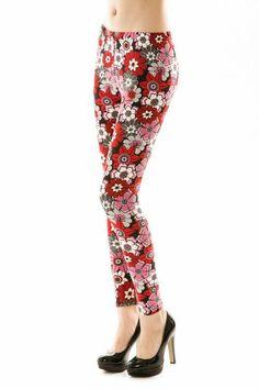 Leggins floral rosa/rojo