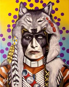 "Wolf Voice  by RIEL BENN .✔zϮThis painting is based on the sioux warrior called ""Wolf Voice"". I try to keep the images as they are but in this piece I added the wolf. Which was commonly worn by scouts of the tribe, these men usually belonged to warrior societies, spied on enemies, gave warning to the tribe if an enemy was close, and acted as decoys as the tribe made their escape from the approaching enemy. – Riel Benn"