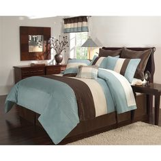Essex Blue and Brown 8-piece Comforter Set - Overstock™ Shopping - Great Deals on Victoria Classics Comforter Sets