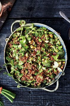 Don't obsess over getting these exact ingredients in this precise combination. Any nut you like will work here for crunch, and you're looking for a mix of bright herbs and enough cooked grains to make it substantial.