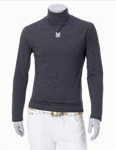 Men Long Sleeve High Neck Pure Color Dark Grey Wool Sweater M/L/XL/XXL @S5-266-1dg