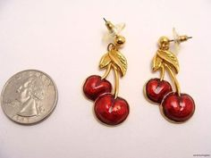 $22.95 vintage 80s CHERRY RED CHERRIES FRUIT Pierced Dangle Enamel Earrings rockabilly by wardrobetheglobe on ebay