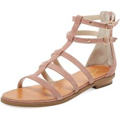 Seychelles Women's Collector Leather Gladiator Sandal - Pink ($65) ❤ liked on Polyvore featuring shoes, sandals, pink, roman sandals, greek leather sandals, pink flat shoes, flat gladiator sandals and double buckle sandals